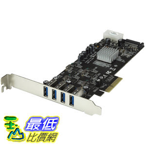 4 Port PCI Express (PCIe) SuperSpeed USB 3.0 Card Adapter w 4 Dedicated 5Gbps PEXUSB3S44V