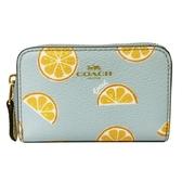 【COACH】柳橙印花ㄇ型單層零錢包(水藍/柳橙)
