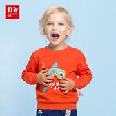 JJLKIDS 男童 邪惡淺水鯊魚長袖圓領T(橙色)