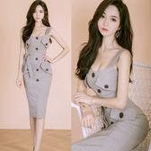 VK精品服飾 韓版OL氣質吊帶格子系帶修身包臀無袖洋裝