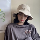 韓版漁夫帽子女春夏出游遮陽太陽帽子字母刺繡防曬盆帽