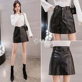 高腰皮短裙半身裙女新款韓版a字顯瘦包臀黑色PU皮短裙快速出貨