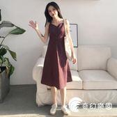 連身裙-夏季女裝新款氣質復古格子中長裙子學生單排扣吊帶V領打底連身裙-奇幻樂園