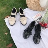 日系洛麗塔厚底女鞋蝴蝶結圓頭娃娃鞋軟妹皮鞋中跟少女單鞋
