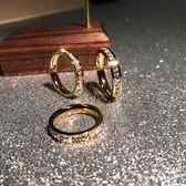 米蘭 日韓版時尚滿鑚鍍18K玫瑰金鈦鋼戒指女食指環精品戒子飾品不褪色