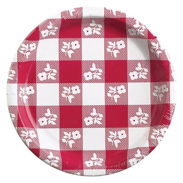 春天 餐具 7吋圓盤8入-紅格紋