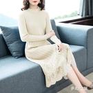 洋裝新款韓版蕾絲拼接長袖針織連身裙修身顯瘦過膝打底毛衣裙 XN9264【夢幻家居】