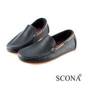 SCONA 全真皮 經典手工懶人鞋 黑色 1247-1