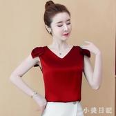 緞面上衣女2020夏季新款女裝超仙高檔洋氣小衫時尚氣質無袖雪紡衫CH1505【小美日記】
