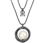 鑲鑽項鍊-簡約雙層生日母親節禮物女毛衣鍊73fv137【時尚巴黎】