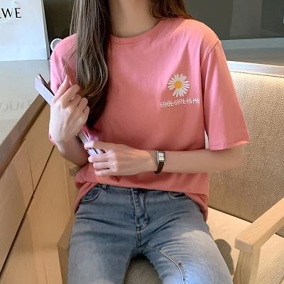 打底短袖上衣 純棉打底衫夏季新款網紅小雛菊短袖t恤女洋氣上衣3222.N501 胖丫