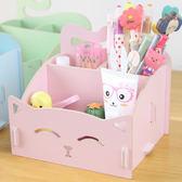 筆筒 木質化妝品收納盒 可愛貓咪筆筒 便簽盒 歡樂聖誕節