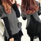 長袖針織衫-假兩件優雅立體小花女T恤73hn5【時尚巴黎】