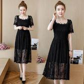 大尺碼洋裝女新款黑色顯瘦長裙子胖mm遮肚藏肉減齡蕾絲身裙 EY4268 『優童屋』
