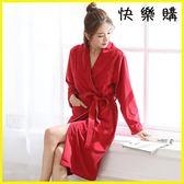 浴袍睡袍 睡袍女秋加厚珊瑚絨睡衣加長款浴衣