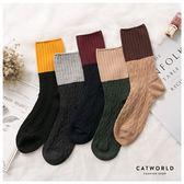 Catworld 雙拼色菱格堆堆長襪【18900454】‧F