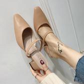 全館8折明天結束半拖鞋女夏2018新款韓版外穿尖頭一字帶中跟涼拖鞋包頭粗跟穆勒鞋
