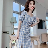 洋裝 旗袍改良版連身裙女夏天復古藍色格子顯瘦收腰小個子裙子DJB01依佳衣
