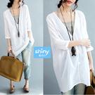 【V2390】shiny藍格子-文藝風尚.V領寬鬆中長袖上衣+細肩帶背心