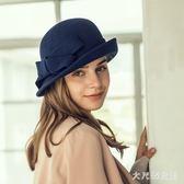 漁夫帽 女帽復古羊毛呢帽子女士英倫圓頂小禮帽卷邊毛呢盆帽優雅帽 df11358【大尺碼女王】
