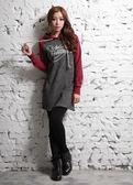 【BTIS】法蘭絨抽繩女長版連帽T恤 紅色