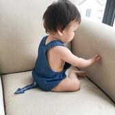 夏季嬰兒包屁衣牛仔背帶尿布褲 單色系~