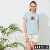 【JEEP】女裝 美式風格休閒短袖TEE-天空藍