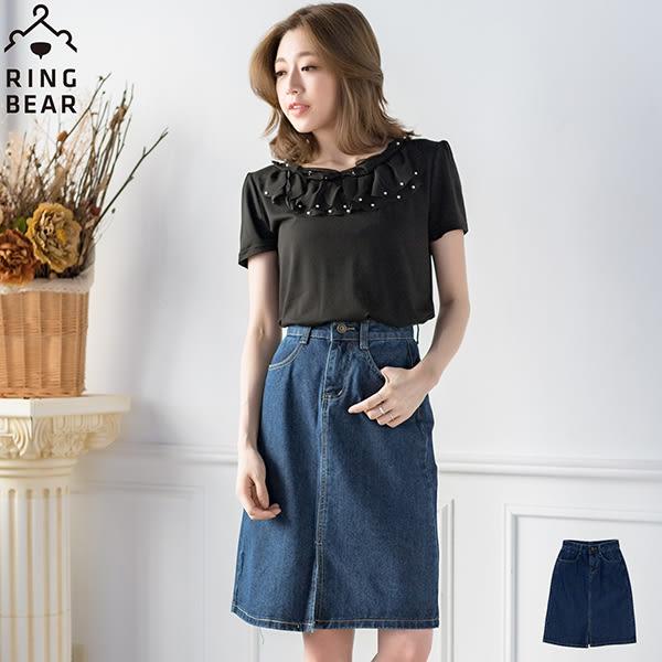 牛仔短裙--經典時尚復古迷人前中開岔高腰雙口袋中長款牛仔及膝A字裙(藍S-5L)-Q73眼圈熊中大尺碼