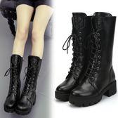 全館83折 馬丁靴女韓版秋季女靴防水臺粗跟單靴保暖加絨棉靴舒適休閒中筒靴