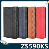 ASUS ZenFone8 ZS590KS 復古格紋保護套 磨砂皮質側翻皮套 隱形磁吸 支架 插卡 手機套 手機殼
