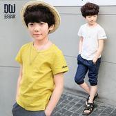 童裝男童短袖t恤2019夏季新款韓版洋氣純棉T恤兒童帥氣體恤 js26107【黑色妹妹】