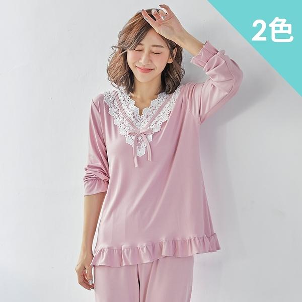 imaco旗艦店 宮廷蕾絲棉質居家睡衣褲組(2色)