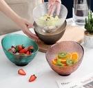 甜品碗 家用玻璃沙拉碗創意金邊水果盤甜品盤子水果碗斜口透明玻璃碗餐具【快速出貨八折下殺】