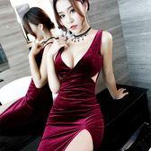 夜場連身裙子晚禮服性感長裙顯瘦夜店工裝女裝小姐氣質低胸秋 卡米優品