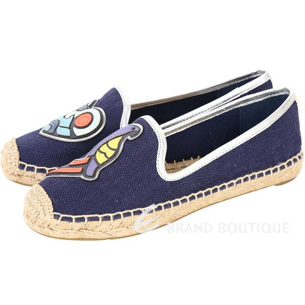 TORY BURCH Parrot Mismatched彩繪圖騰麻編休閒鞋(藍色) 1730086-34