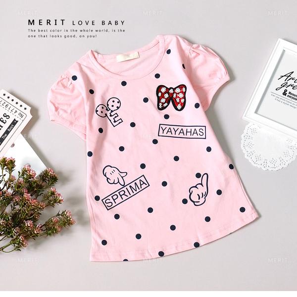 米妮蝴蝶結亮片手套點點粉嫩上衣 小童 中大童 短袖 女童上衣 可愛 俏皮 粉色 卡通 上衣 女童裝