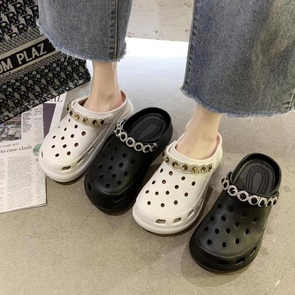 包頭半拖鞋女外穿2021夏季新款洞洞鞋厚底沙灘老爹運動高跟涼拖鞋 蘇菲小店