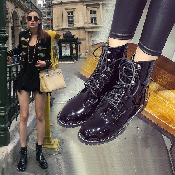 短靴  單靴 系帶高跟馬丁靴 短筒女靴子—現貨