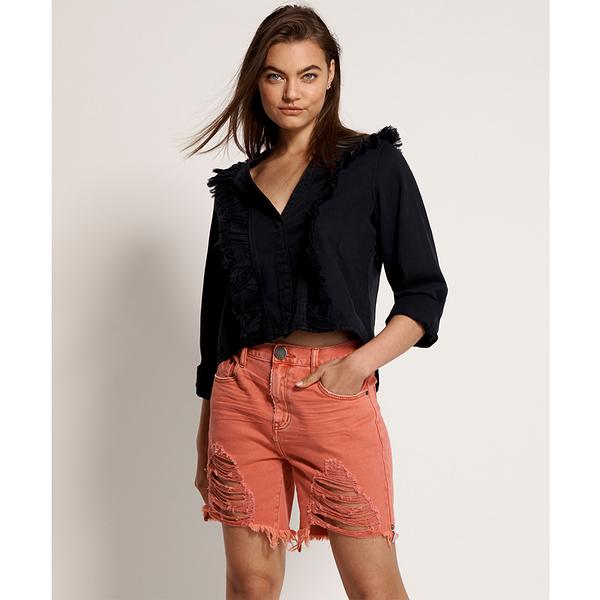 ONETEASPOON W CORAL STEVIES LONG LENGTH BOYFRIEND SHORT 牛仔短褲- (女)