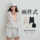 套裝 Space Picnic|正韓-素面連帽外套+短褲(預購)【K21035006】