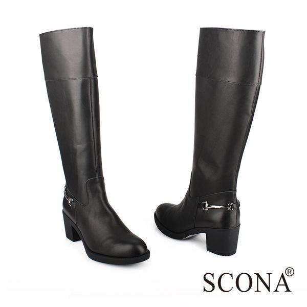SCONA 全真皮 簡約率性厚底長靴 黑色 8753-1