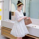 微胖mm仙女人2019夏裝新款大尺碼 女裝遮肚子洋氣心機顯瘦減齡連身裙