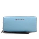 MICHAEL KORS 銀字LOGO防刮皮革素色手提長夾 手機包(藍色)-35F7STVE7L