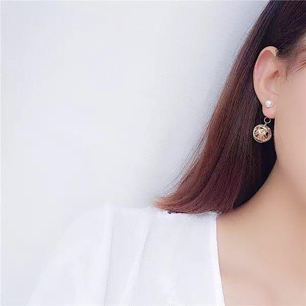 現貨不用等 韓國金屬感金線纏繞珍珠垂墜後掛耳環 夾式耳環 S93188 批發價 Danica 韓系飾品