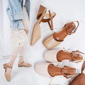涼鞋2018新款女夏季韓版百搭仙女包頭粗跟女鞋方頭中跟復古奶奶鞋『潮流世家』