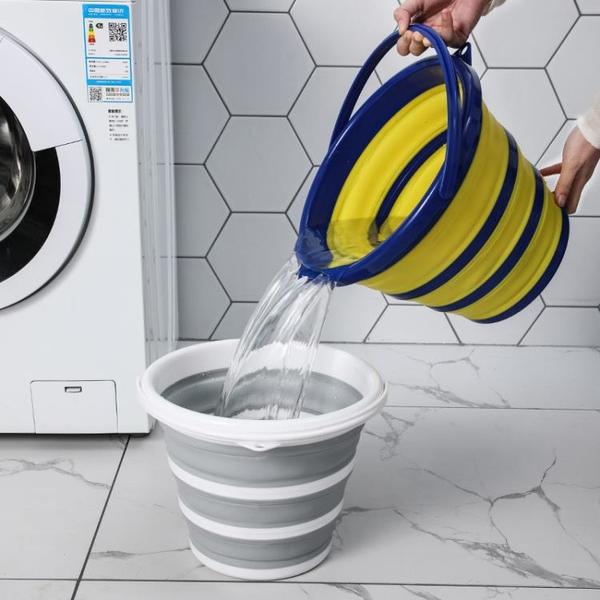 便攜式摺疊水桶硅膠塑料車載洗車桶兒童戶外旅行釣魚桶家用儲水桶 「店長熱推」