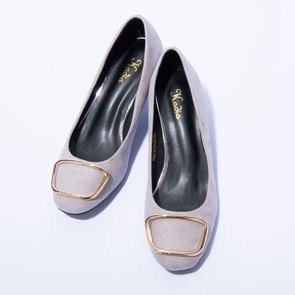 2016秋冬新品上市kadia 典雅輕熟 方形飾釦跟鞋(灰色)