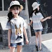 女童短袖T恤新款夏裝卡通純棉上衣兒童圓領涂鴉條紋體恤衫潮 至簡元素