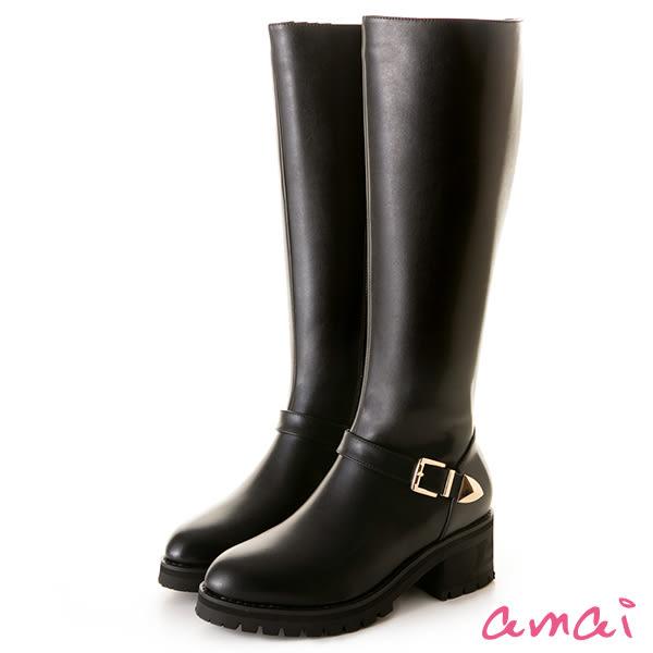 amai軍裝風格輕巧厚底粗跟長靴 黑