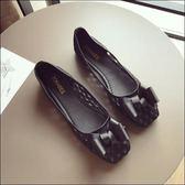 六月芬蘭方頭立體蝴蝶結簍空透氣蕾絲平底鞋娃娃鞋女鞋包鞋黑色(35-41大尺碼)現貨